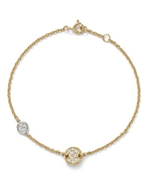 Diamond Double Disc Bracelet in 14K White and Yellow Gold, .16 ct. t.w.