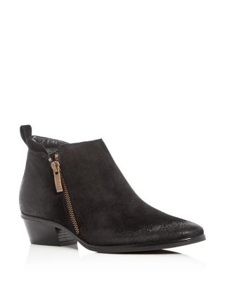 WOMEN'S JILLIAN SNAKE EMBOSSED SUEDE LOW HEEL BOOTIES