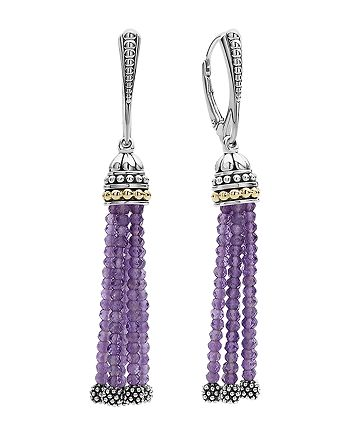 LAGOS - 18K Gold and Sterling Silver Caviar Icon Tassel Earrings with Amethyst