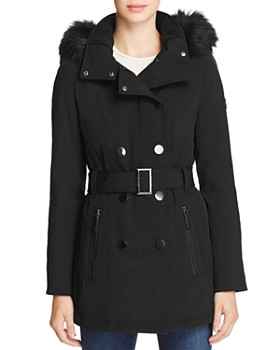 Calvin Klein - Belted Faux Fur-Trim Hooded Trench Coat