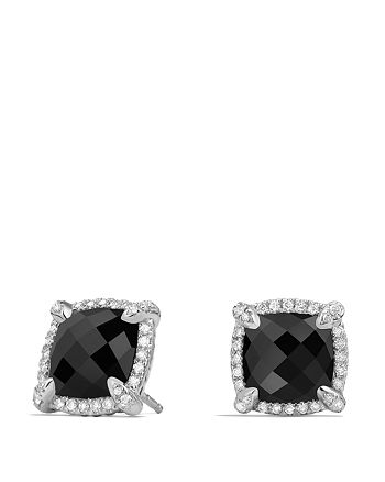 David Yurman - Châtelaine Pavé Bezel Stud Earrings with Black Onyx and Diamonds