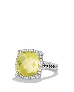 David Yurman - Châtelaine Pavé Bezel Ring with Lemon Citrine and Diamonds