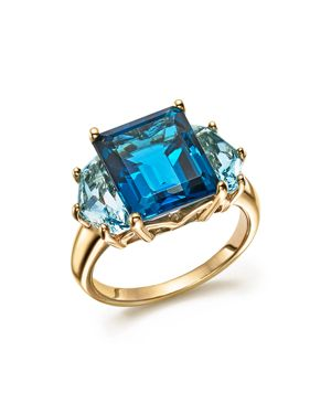London and Sky Blue Topaz Statement Ring in 14K Yellow Gold - 100% Exclusive