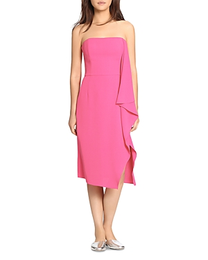 Halston Heritage Drape-Detail Strapless Dress