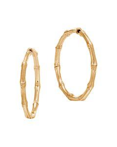 889fb62fa Gucci 18K Yellow Gold Bamboo Hoop Earrings | Bloomingdale's