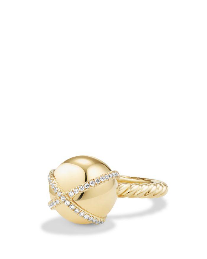 David Yurman Solari Double Pavé Wrap Ring with Diamonds in 18K Gold   | Bloomingdale's