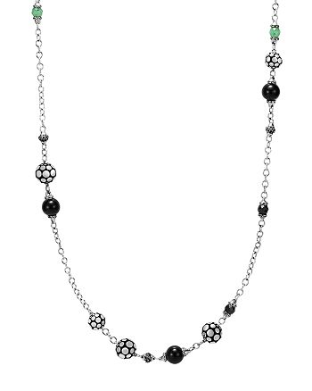 JOHN HARDY - Sterling Silver Dot Station Necklace with Black Spinel, Black Sapphire and Obsidian, 36""