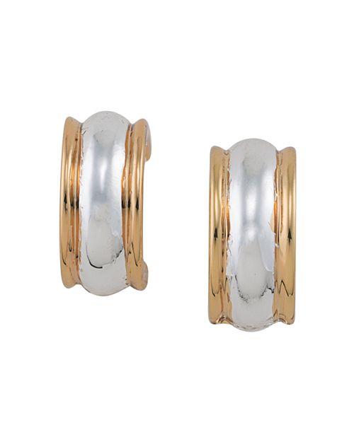 Ralph Lauren Two Tone Clip On Hoop Earrings