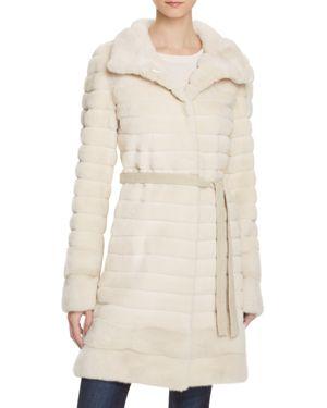 Maximilian Furs Grooved Sheared Mink & Long Hair Mink Fur Coat - 100% Exclusive
