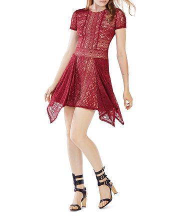 BCBGMAXAZRIA - Aileen Lace Handkerchief Hem Dress