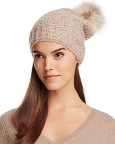 Inverni - Fur Pom-Pom Slouchy Beanie - 100% Exclusive