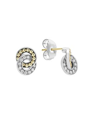 Lagos 18K Gold and Sterling Silver Enso Double Circle Stud Earrings with Diamonds