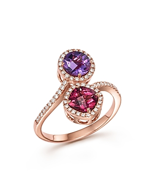 Amethyst and Rhodolite Garnet Ring with Diamonds in 14K Rose Gold - 100% Exclusive
