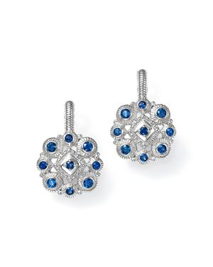 JUDITH RIPKA STERLING SILVER LA PETITE SNOWFLAKE CLUSTER EARRINGS WITH SAPPHIRE