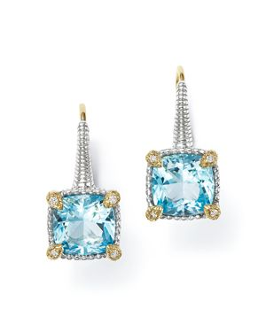 Judith Ripka 18K Yellow Gold and Sterling Silver Berge Cushion Drop Earrings with Sky Blue Topaz and