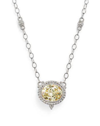 "Judith Ripka - Sterling Silver La Petite Oval Canary Crystal Pendant Necklace, 17"""