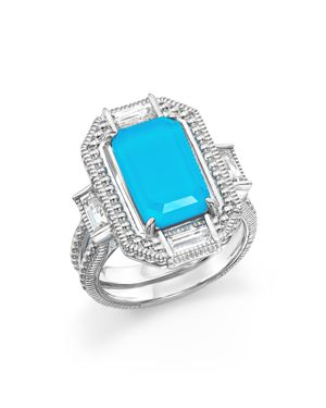 JUDITH RIPKA Sterling Silver Doublet Baguette Ring in Turquoise/Silver