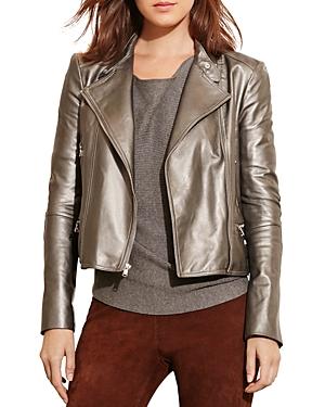 Lauren Ralph Lauren Metallic Leather Moto Jacket