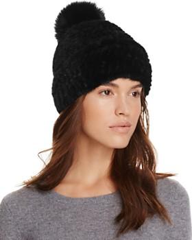 Maximilian Furs - Mink Fur Hat with Fox Fur Pom-Pom - 100% Exclusive