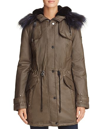 Laundry by Shelli Segal - Faux-Fur Trim Waxed Anorak