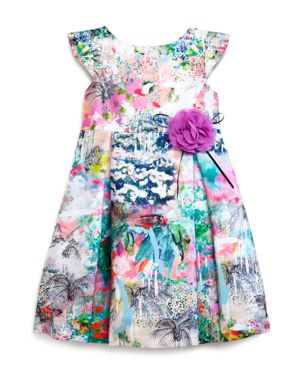 Pippa & Julie Girls' Abstract Floral Shantung Dress - Sizes 2-6