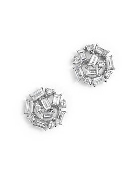 KC Designs - Diamond Round and Baguette Stud Earrings in 14K White Gold, .60 ct. t.w.