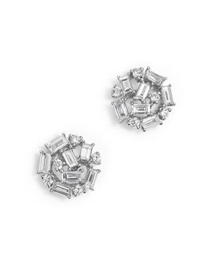 Kc Designs Diamond Round and Baguette Stud Earrings in 14K White Gold, .60 ct. t.w.