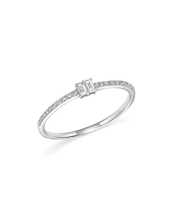 KC Designs - Diamond Round and Baguette Band in 14K White Gold, .14 ct. t.w.