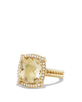David Yurman - Châtelaine Pavé Bezel Ring with Champagne Citrine and Diamonds in 18K Gold