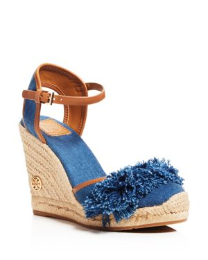 Tory Burch Shaw Denim Espadrille Wedge Sandals