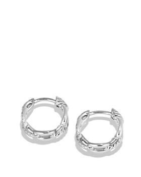 David Yurman - Stax Chain Link Huggie Hoop Earrings with Diamonds in 18K White Gold