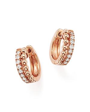 Dana Rebecca Designs 14K Rose Gold Beaded Diamond Huggie Hoop Earrings