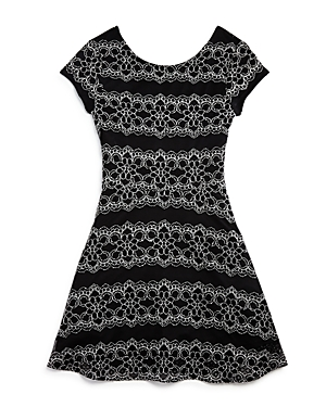 Aqua Girls' Lace Patterned Embroidered Knit Dress, Big Kid - 100% Exclusive
