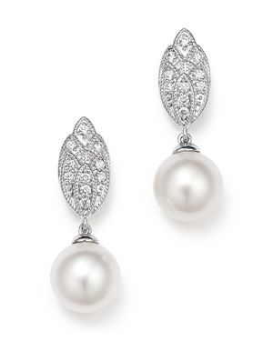 Diamond and Cultured Freshwater Drop Earrings in 18K White Gold, 9mm