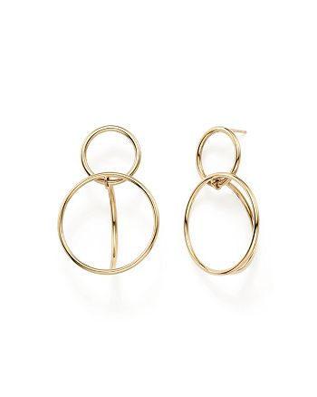 Bloomingdale's - 14K Yellow Gold Double Circle Drop Earrings - 100% Exclusive