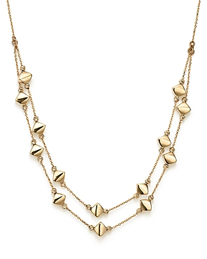 14K Yellow Gold Diamond Shaped Bead Station Necklace, 17.25 - 100% Exclusive