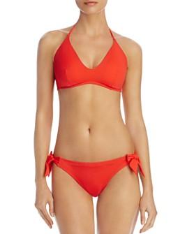 Echo - Solid Scoop Bikini Top & Solid Tie Bikini Bottom
