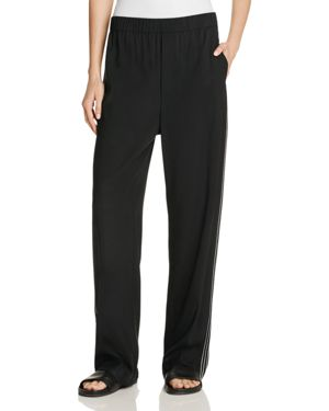 Vince Embroidered Side Stripe Wide Leg Track Pants