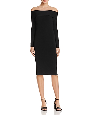 T by Alexander Wang Needle Knit Off-the-Shoulder Dress