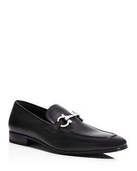 Salvatore Ferragamo - Men's Flori 2 Stitched Almond Toe Double Gancini Bit Leather Loafers
