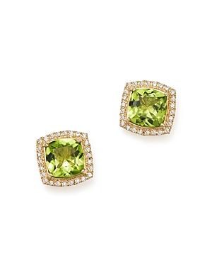 Peridot Cushion and Diamond Stud Earrings in 14K Yellow Gold - 100% Exclusive