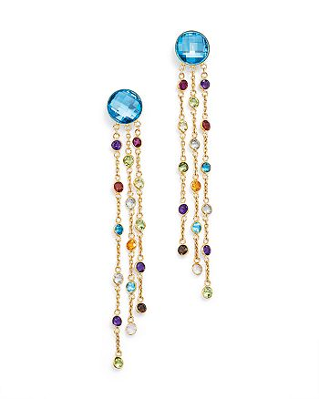 Bloomingdale's - Blue Topaz and Multi Gemstone Drop Earrings in 14K Yellow Gold- 100% Exclusive