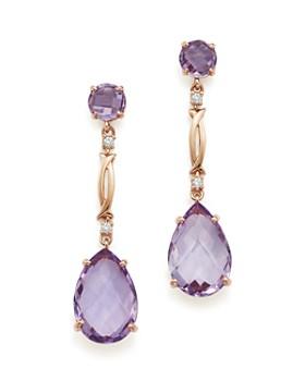Bloomingdale S Rose Amethyst And Diamond Drop Earrings In 14k Gold 100 Exclusive
