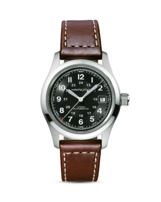 HAMILTON Khaki Field Automatic Leather Strap Watch, 38Mm in Brown/ Black/ Silver