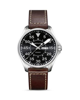 HAMILTON Khaki Aviation Pilot Leather Strap Watch, 42Mm in Brown/ Black/ Silver