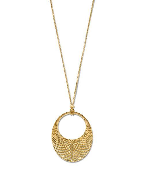 "Gucci - 18K Yellow Gold Oval Diamantissima Necklace, 18"""