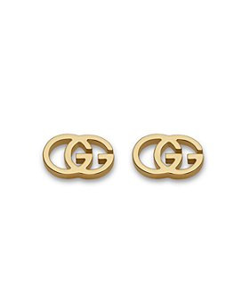 Gucci - Gucci 18K Yellow Gold Running G Stud Earrings