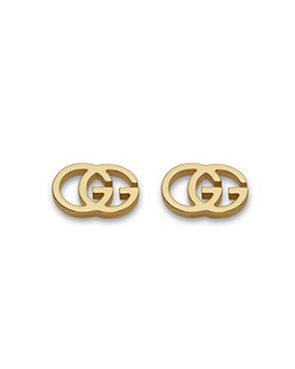 Gucci - Gucci 18K Yellow Gold Running G Stud Earrings