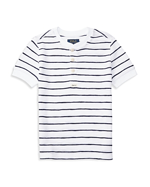 Ralph Lauren Childrenswear Boys Striped Waffle Henley Top  Sizes 27
