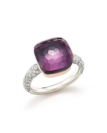 Pomellato - Nudo Maxi Ring with Faceted Amethyst and Diamonds in 18K White and Rose Gold